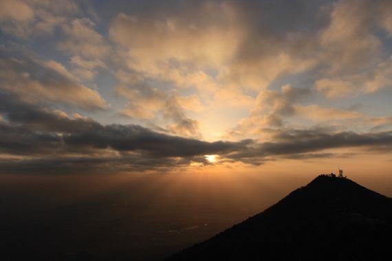 筑波山から見た夕日(1)