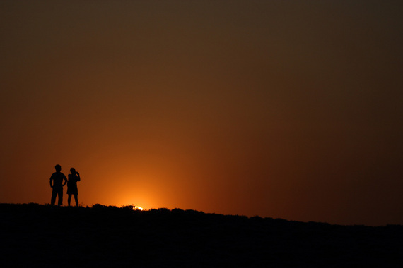 ネモフィラの丘の夕日