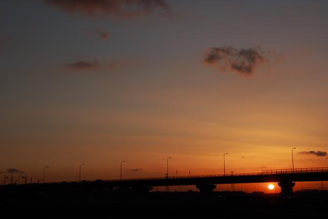 大利根大橋から見えた夕日